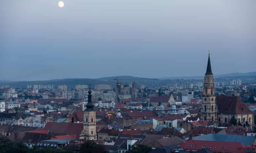 A view over urban Cluj Napoca, with two gothic spires