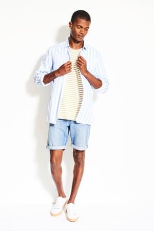 model wears stripe look