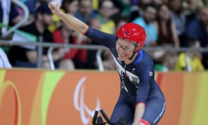 Sarah Storey of Great Britain celebrates victory at the 2016 Paralympic Games in Rio.