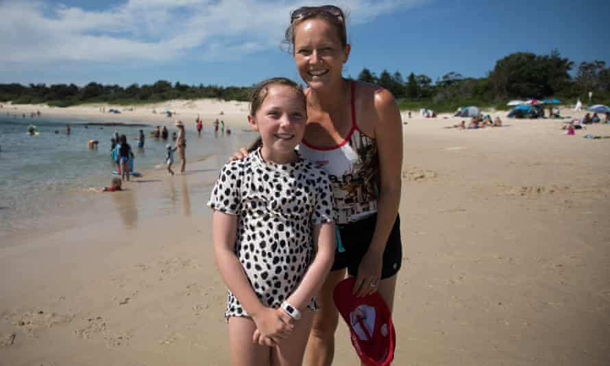 Ffyon, nearly 10, with her mother, Claire, likes the hermit crabs at Yarra Bay, and 'how the water's nice and cool'.