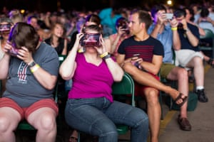 The audience were invited to don VR headsets in the work's final five minutes.