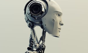 A futuristic cyborg head
