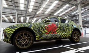 The new Aston Martin Lagonda DBX is pictured inside the new factory at Saint Athan, Wales.