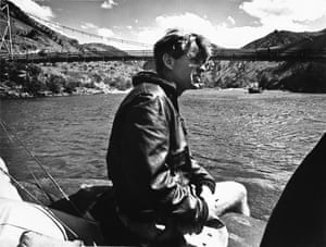Robert F Kennedy on Snake River, Idaho, in 1966