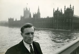 MP Tony Benn outside the Houses of Parliament in London in March 1961