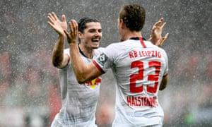 RB Leipzig's Marcel Sabitzer (left) celebrates with Marcel Halstenberg after scoring against FC Union Berlin.