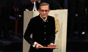 The economist Abhijit Banerjee, pictured receiving a Nobel prize.