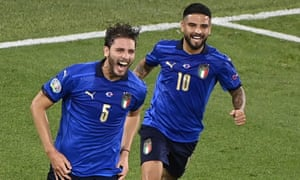 Manuel Locatelli (L) of Italy celebrates with team-mate Lorenzo Insigne after scoring.