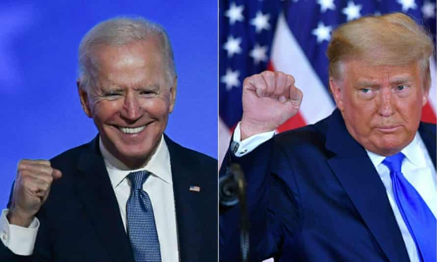 This combination of pictures shows Joe Biden and Donald Trump pumping their fists during an election night speech on 4 November 2020