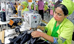 A worker at a garment factory in Bangladesh in May.