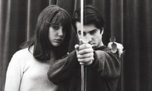 Anne Wiazemsky with Jean-Pierre Léaud in Godard's La Chinoise, 1967.