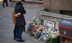 Flowers in memory of the victims of the London Bridge attack