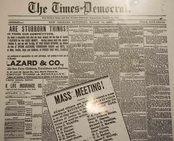 A copy of a 14 March, 1891, newspaper advertisement calling for action after the acquittals in New Orleans.