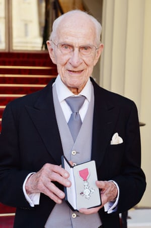 William Frankland with his MBE for services to allergy research, which he was awarded in 2015