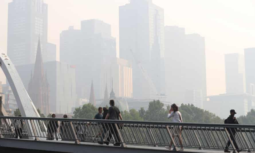 Smoke haze from the bushfires over Melbourne in January