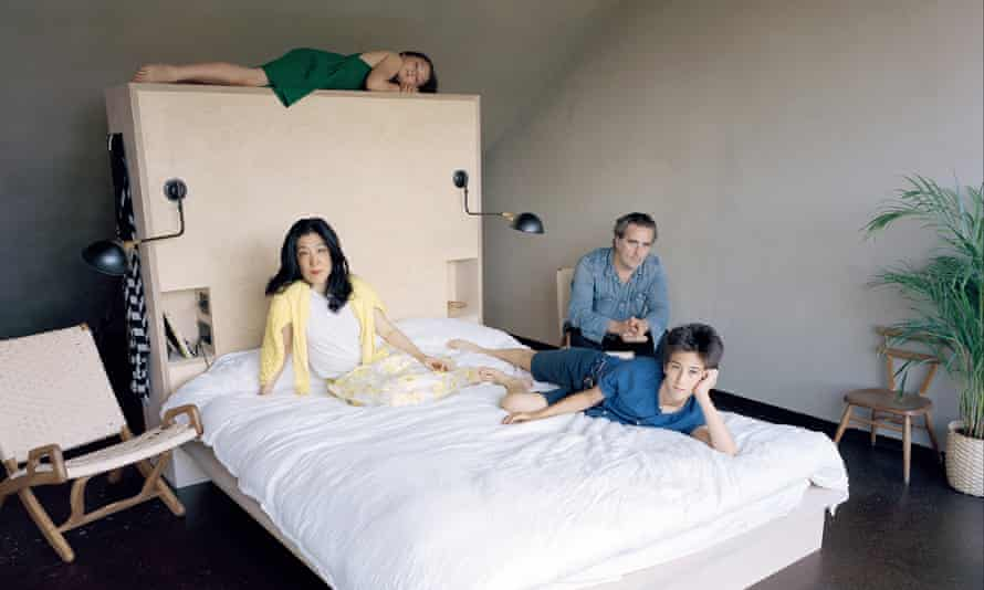Edmund and Yuki Sumner with their two children in the new attic bedroom.