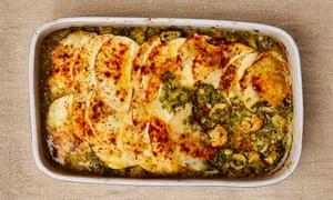 Freezer fish pie: Yotam Ottolenghi's seafood, spinach and celeriac bake.