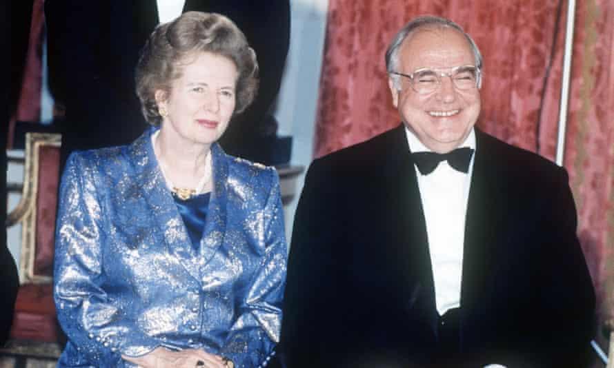 Margaret Thatcher and Helmut Kohl in July 1990