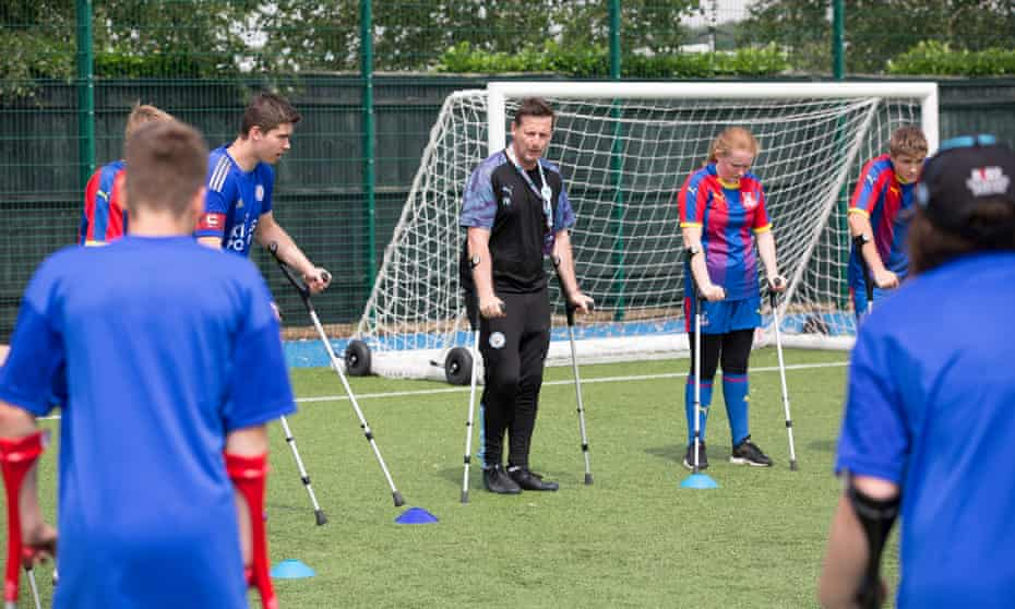 Participants at a disability football festival organised by the Premier League and the BT disability programme in 2019.