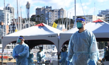 Sydneysiders line up for Covid-19 testing at a pop-up clinic at Rushcutters Bay on Wednesday as Sydney's east becomes a coronavirus hotspot.