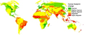 Map showing changes in human environmental impact increased or decreased from 1993 to 2009