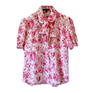 Pink floral pussy-bow shirt, £295, tabithawebb.co.uk