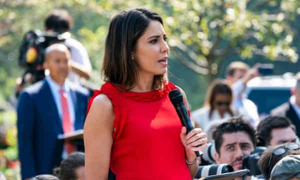 Cecilia Vega of ABC News asks a question. Trump said of the reporter as he called on her, 'I know you're not thinking. You never do.'