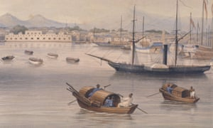 Boats at Shanghai harbour in 1875