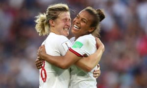 Ellen White of England celebrates with teammate Nikita Parris after scoring her team's second goal.