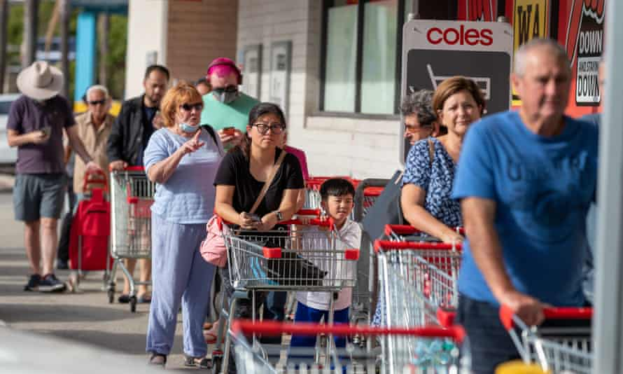 Coronavirus WA: People queue at supermarkets ahead of the three-day lockdown in Perth and the Peel region. Shopping for essentials is one of the reasons people are allowed to leave their homes under the rules. Check our guide to Western Australia's Covid lockdown restrictions.