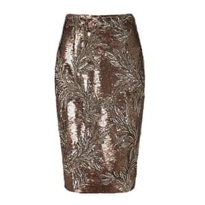bronze and silver floral design midi skirt John Lewis