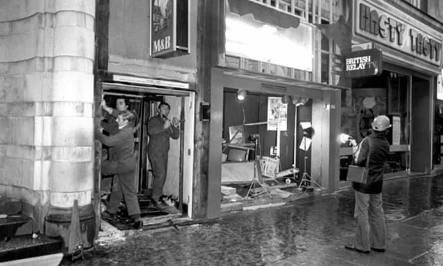 The damaged front of the Tavern in the Town in Birmingham after the attack on 21 November 1974.