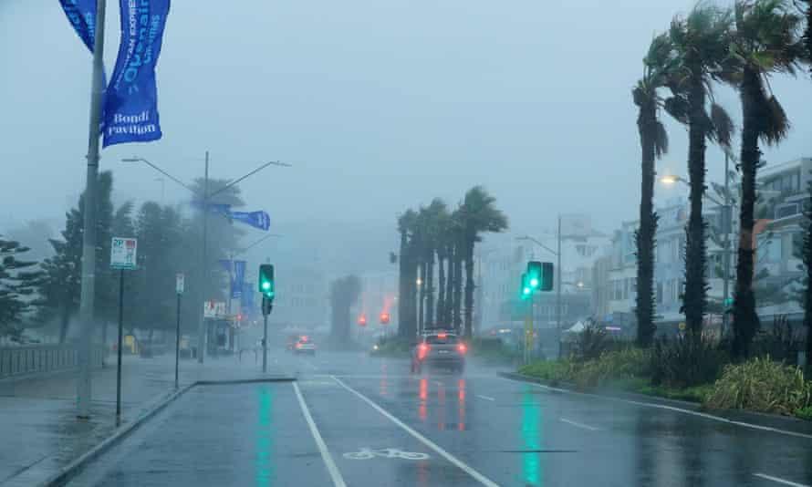 rainy and windy street scene