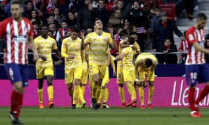 Girona celebrate their goal during the 1-1 draw against Atlético.