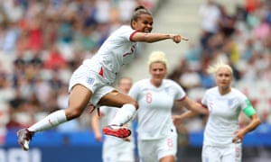 Nikita Parris celebrates after scoring for England against Scotland at the World Cup.