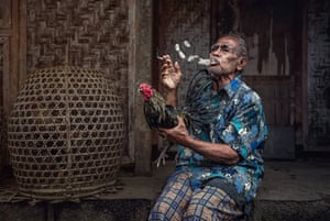 A Balinese man shows off his pride and joy, a fighting cock, while on a cigarette break after a morning's work in nearby fields.