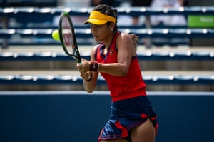 Raducanu plays in front of empty seats against Mayar Sherif of Egypt in the final round of qualifying for the US Open women's singles tournament
