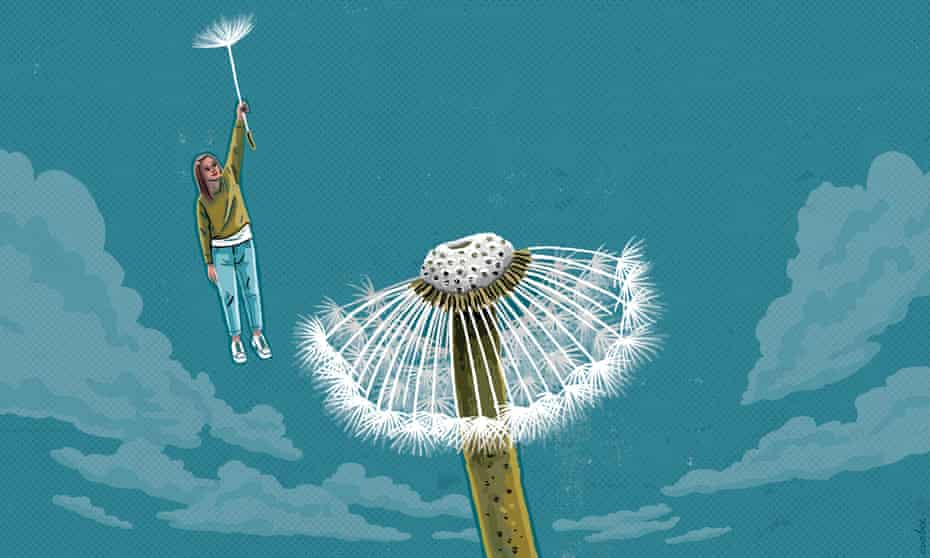 An illustration of a woman floating up to the sky being lifted by a stalk blown from a giant dandelion