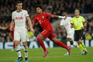 Serge Gnabry celebrates giving Bayern Munich their third goal in the 7-2 victory over Spurs.