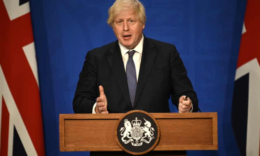Boris Johnson confirms the relaxation of Covid restrictions at a news conference in Downing Street
