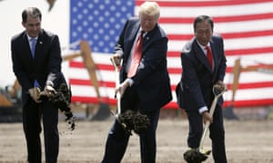 Donald Trump, Scott Walker and Terry Gou, chairman of Foxconn, participate in a groundbreaking event in Mt Pleasant.