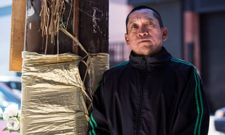 José Góngora photographed on the street in San Francisco where his brother, Luis Góngora, was killed by police.