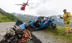 A rescue workers team seen on an accident spot in Austria where two British men in their 20s were killed during a race.