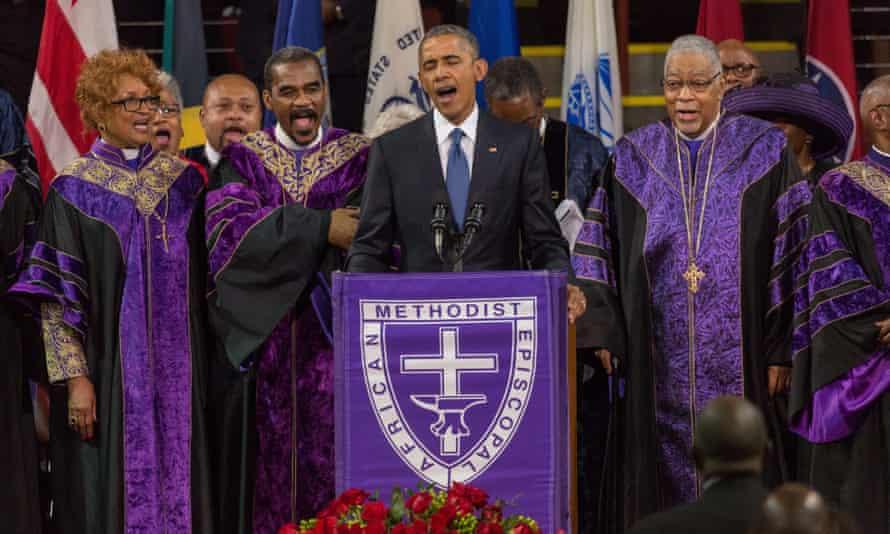 Obama sings Amazing Grace at the funeral of state senator Clementa Pinckney, one of nine people killed at Emanuel African Methodist Episcopal Church, Charleston, 2015
