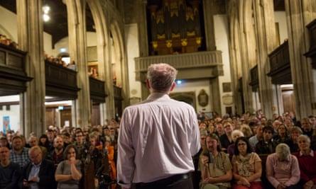 Jeremy Corbyn speaks at a rally in Cambridge