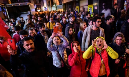 'No' voters gather in Istanbul to protest against the Turkish referendum result.