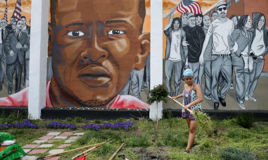 A large memorial mural of Freddie Gray in Baltimore, Maryland.