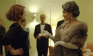 A still from FX's Feud: Bette and Joan, showing Susan Sarandon as Bette Davis, left, and Jessica Lange as Joan Crawford.