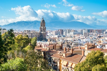 View of the Cathedral of Malaga from the Alcazaba, Andalusia, Spain