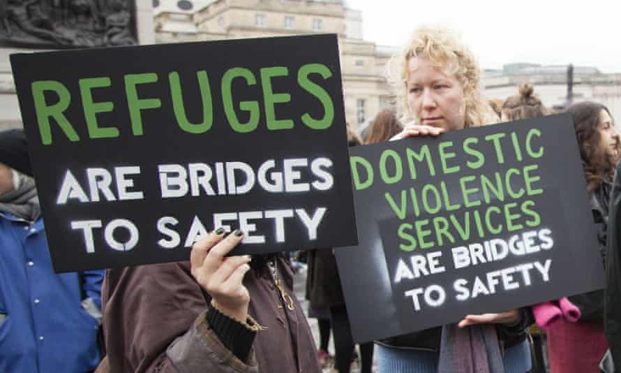 'Refuges are bridges to safety' is the slogan on one poster at a protest in London in 2016